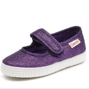 Cienta Purple Glitter Girls May Jane Shoes